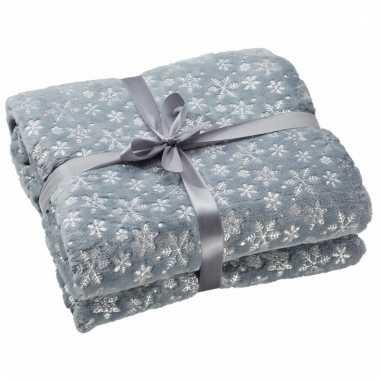 Warm fleece dekentje grijs met sneeuwvlokken print 130 x 150 cm