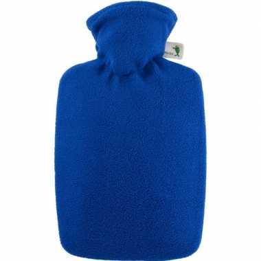 Warm water kruik blauw 1,8 liter fleece hoes
