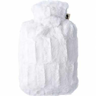 Warm water kruik creme wit 1,8 liter met bontje