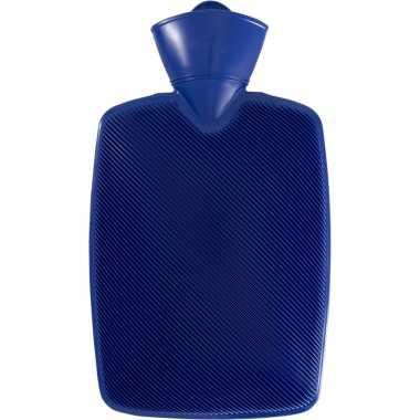 Warm water kruik donker blauw 1,8 liter van kunststof