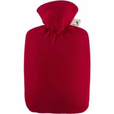 Warm water kruik rood 1,8 liter fleece hoes