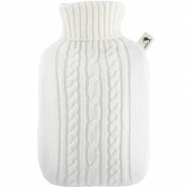 Warm water kruik wit 1,8 liter gebreid met kabel patroon