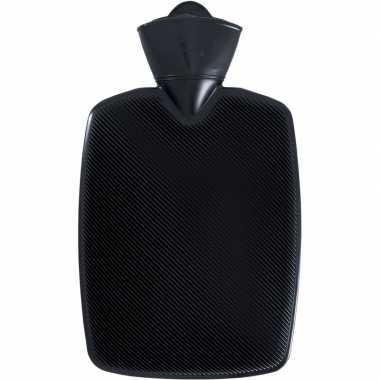 Warm water kruik zwart 1,8 liter van kunststof