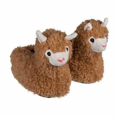 Warme alpaca/lama pantoffels/sloffen voor kinderen