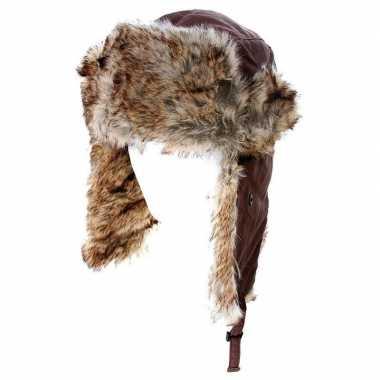 Warme bontmuts bruin met pluche/bont en oorflappen voor dames/heren