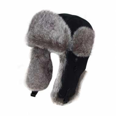 Warme bontmuts zwart met bont en oorflappen voor dames/heren