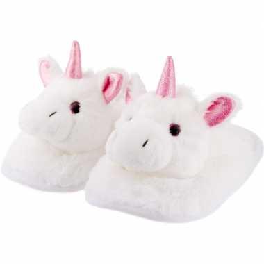 Warme dieren slofjes/pantoffeltjes eenhoorn wit/roze voor jongens/mei