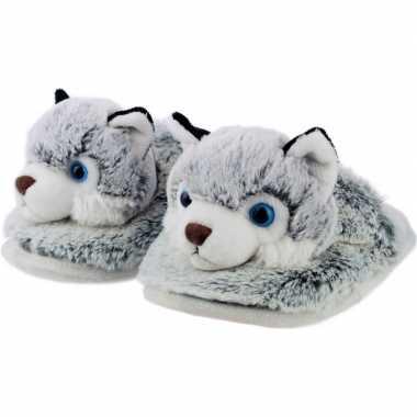 Warme dieren slofjes/pantoffeltjes husky honden grijs/wit voor jongen