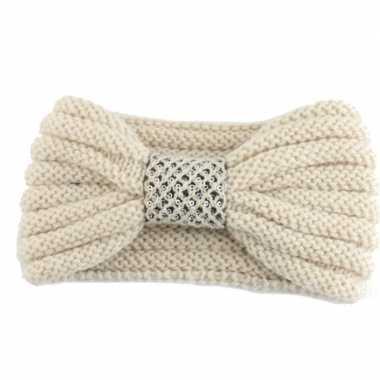 Warme gebreide haarband beige met strik