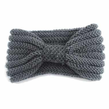 Warme gebreide haarband grijs met strik