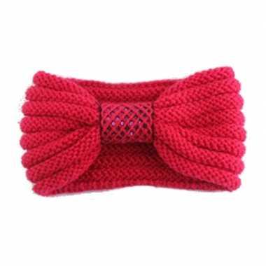 Warme gebreide haarband rood met strik