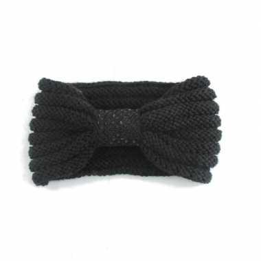 Warme gebreide haarband zwart met strik
