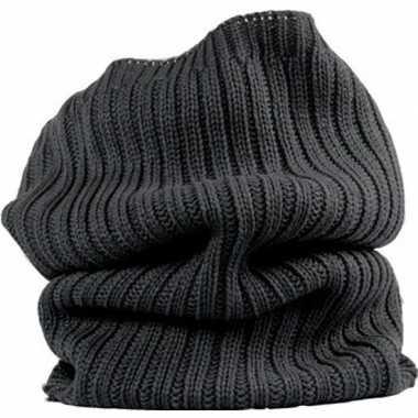 Warme ronde col shawl antraciet voor volwassenen