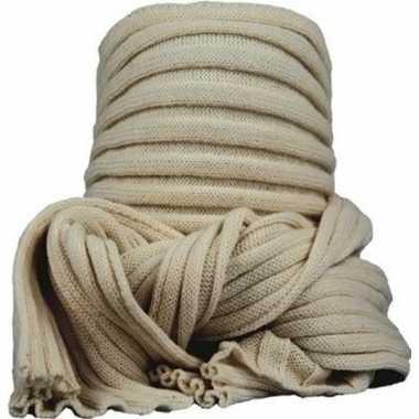 Warme ronde col shawl beige voor volwassenen