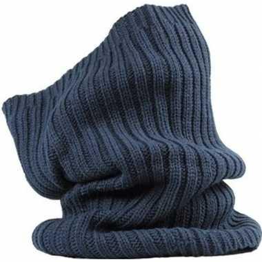 Warme ronde col shawl navy blauw voor volwassenen