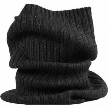 Warme ronde col shawl zwart voor volwassenen