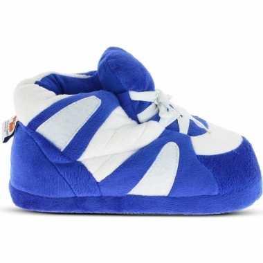 Warme sneaker slofjes/pantoffeltjes blauw/wit voor heren