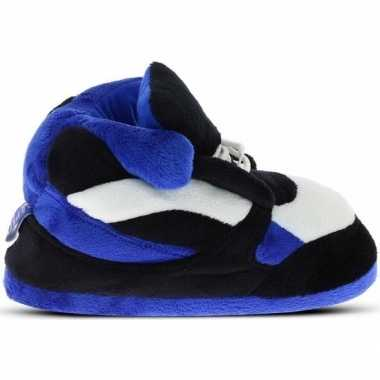 Warme sneaker slofjes/pantoffeltjes blauw/zwart/wit voor heren