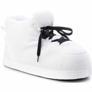 Warme sneaker slofjes/pantoffeltjes wit met zwarte veters voor dames
