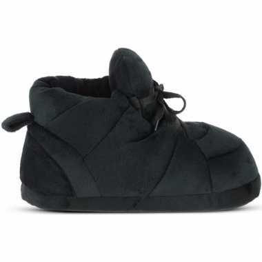Warme sneaker slofjes/pantoffeltjes zwart met zwarte veters voor here
