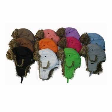 Warme winter bontmuts wit met pluche/bont en oorflappen/flapjes voor