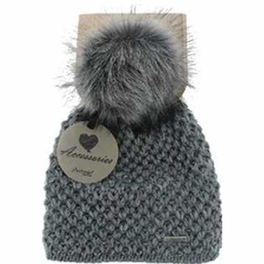 Warme winter muts grijs gebreid met bonten pompon/pluim voor dames/vo