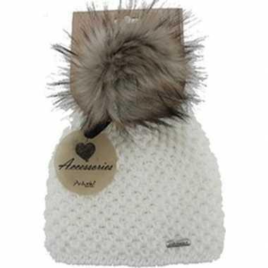 Warme winter muts wit gebreid met bonten pompon/pluim voor dames/volw