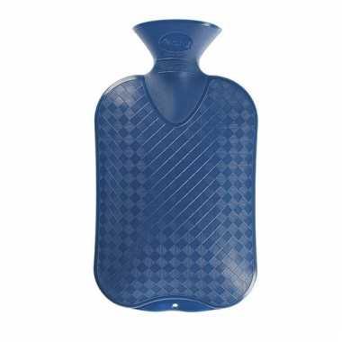 Warmte kruik blauwe ruit/ribbel 2 liter