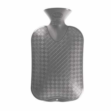 Warmte kruik grijze ruit/ribbel 2 liter