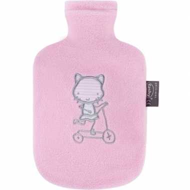 Warmte kruik met badstof hoes poezen/katten 0,8 liter