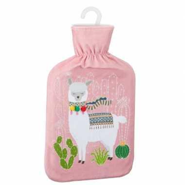 Warmwaterkruik met lama/alpaca print roze 2 liter