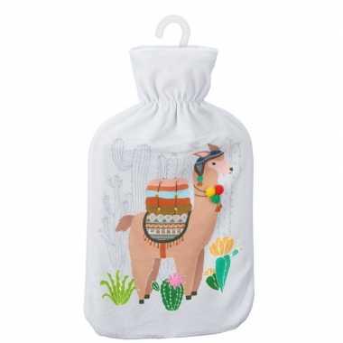 Warmwaterkruik met lama/alpaca print wit 2 liter