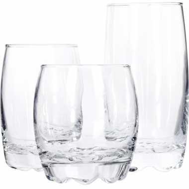 Water glazen 18 stuks in 3 formaten