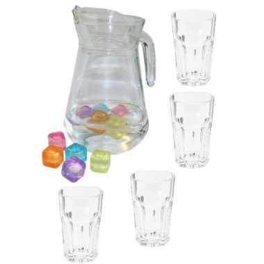 Water glazen 4x stuks met schenkkan
