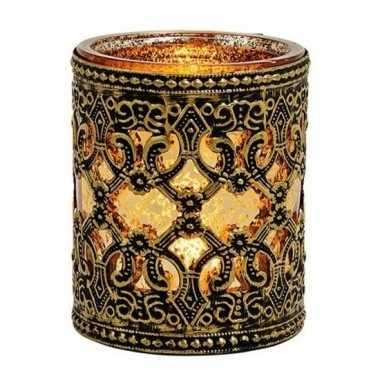 Waxinelichthouder goud/zwart antiek 10 cm