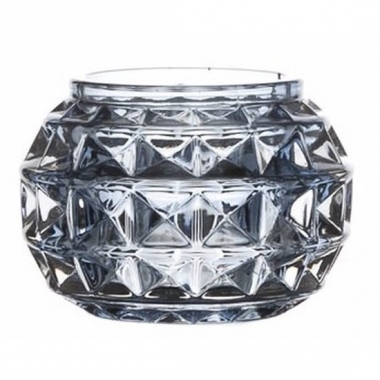 Waxinelichthouder lichtblauw glas paris 7.4 cm