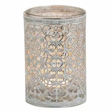 Waxinelichthouder zilver antiek 12 cm