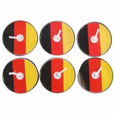 Waxinelichtjes geel rood zwart 6 stuks