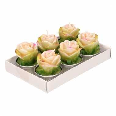 Waxinelichtjes roze roosjes 6 x