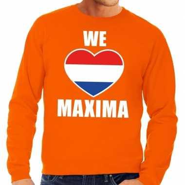 We love maxima sweater oranje heren