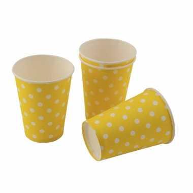 Wegwerp bekertjes geel met witte stippen 200cm