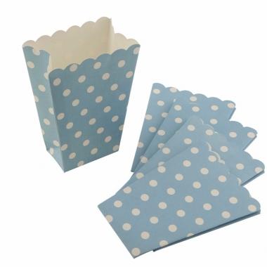 Wegwerp popcornbakjes blauw met witte stippen
