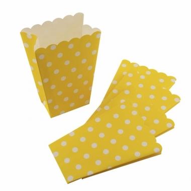 Wegwerp popcornbakjes geel met witte stippen
