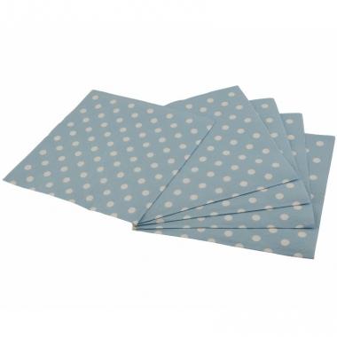 Wegwerp servetten blauw met witte stippen 33 cm