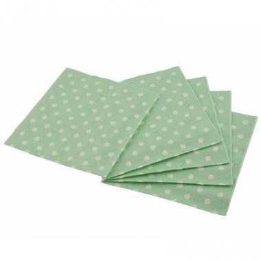 Wegwerp servetten groen met witte stippen 33 cm