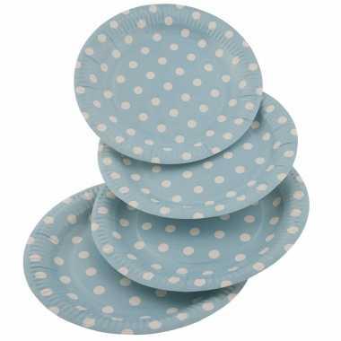 Wegwerpbordjes blauw met witte stippen 23 cm