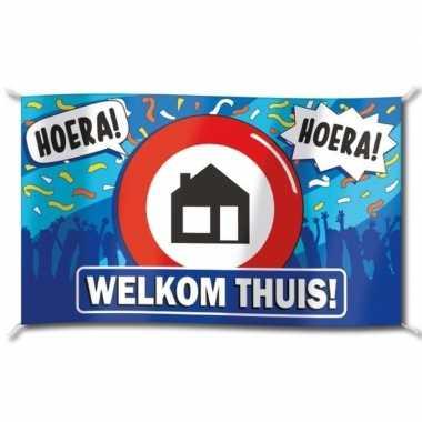 Welkom thuis versiering banner 100 x 150 cm