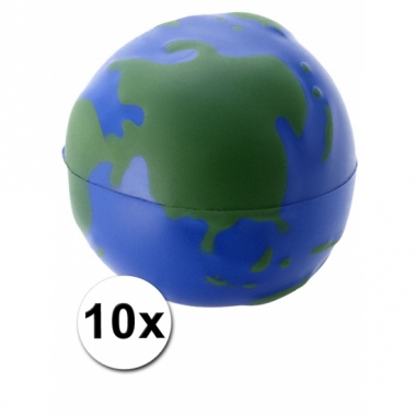 Wereldbol earth stressballetjes 10x