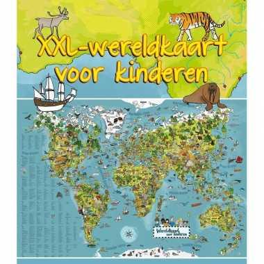 Wereldkaart dieren voor aan de muur 140 x 95 cm