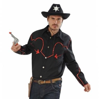 Western overhemd met rode glitters